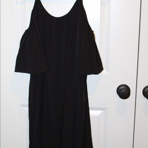 French connection cold shoulder black mini dress